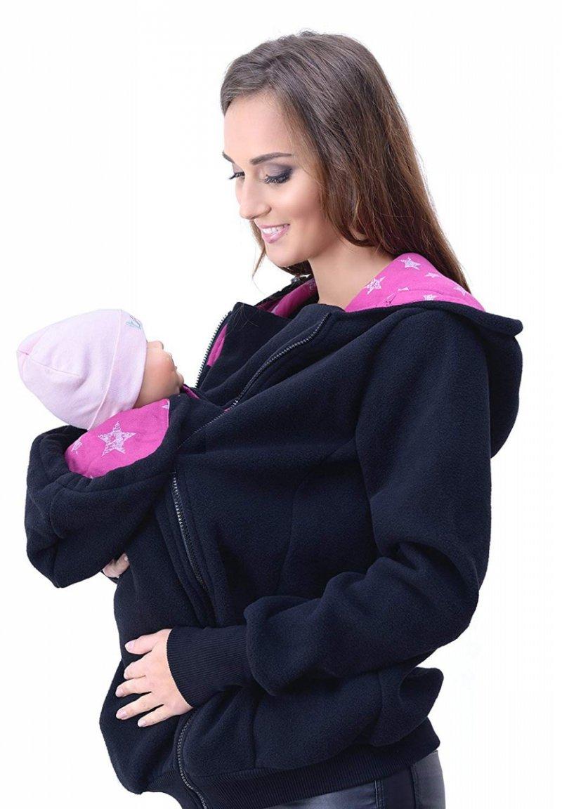 MijaCulture - 3 w1 bluza polarowa 3D ciążowa i do noszenia dziecka  4047/M51 czarny