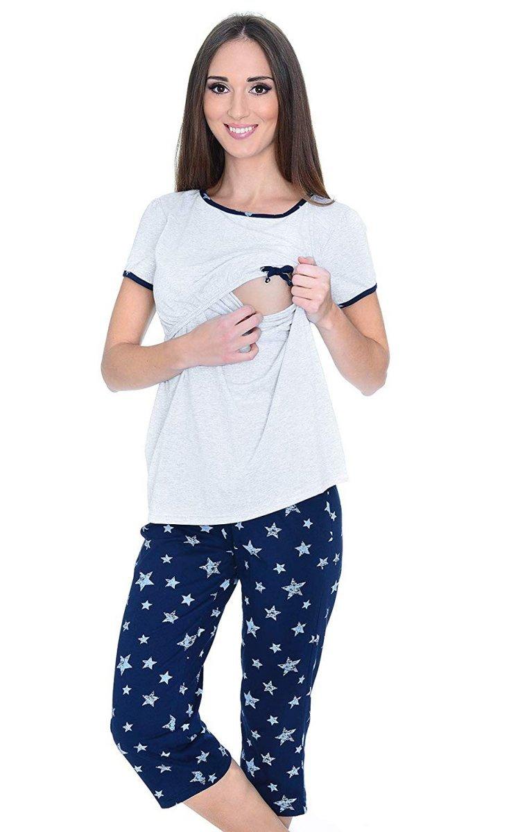 MijaCulture - piżama 3 w 1 ciążowa i do karmienia 4119/M69 melanż/granat