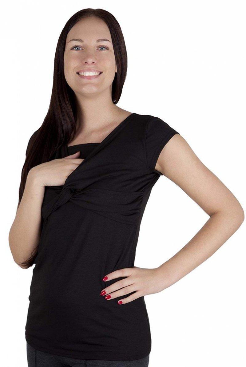 MijaCulture - bluzka z pętelką 2 w 1 ciążowa i do karmienia M18/4003 czarny