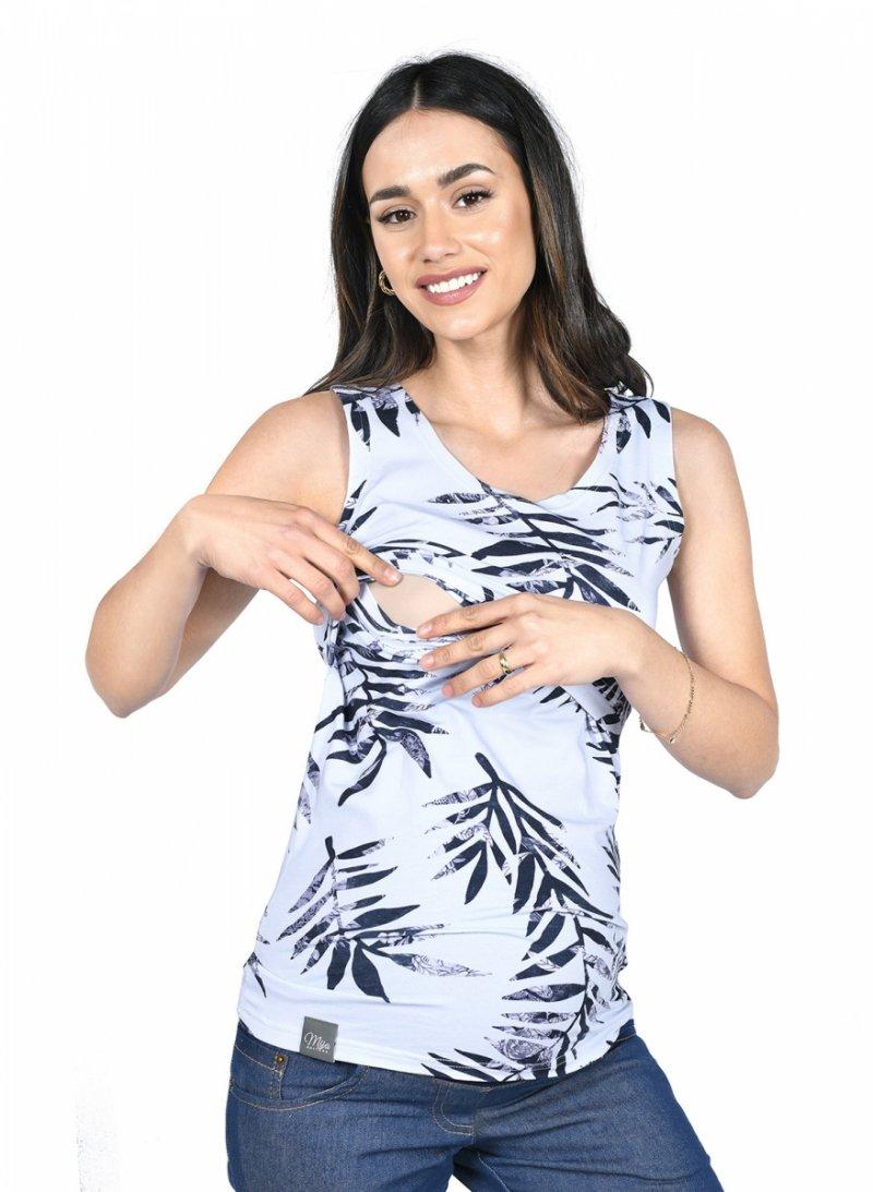 MijaCulture - top 2 w 1 ciążowy i do karmienia M005 Betty szary/liść