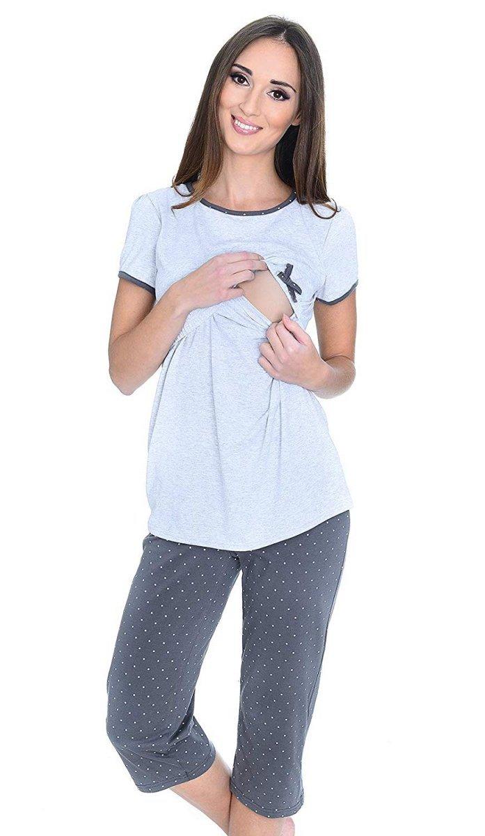 MijaCulture - piżama 3 w 1 ciążowa i do karmienia 4119/M69 melanż/szary