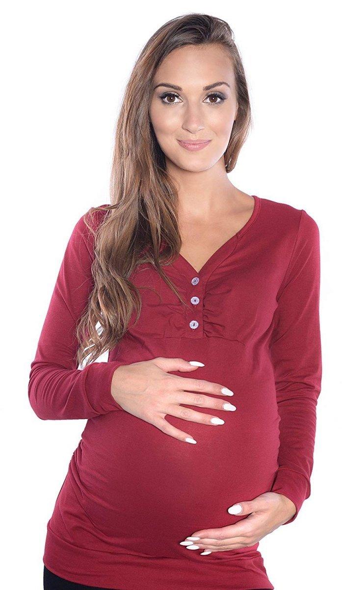 MijaCulture - bluzka 2 w 1 ciążowa i do karmienia długi rękaw M08/3079 bordo