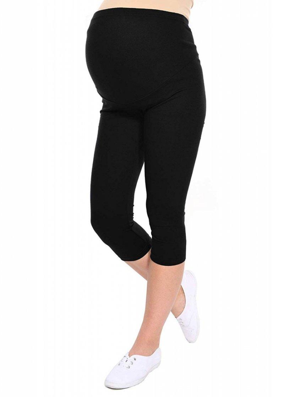 Komfortowe legginsy ciążowe 3/4 czarne
