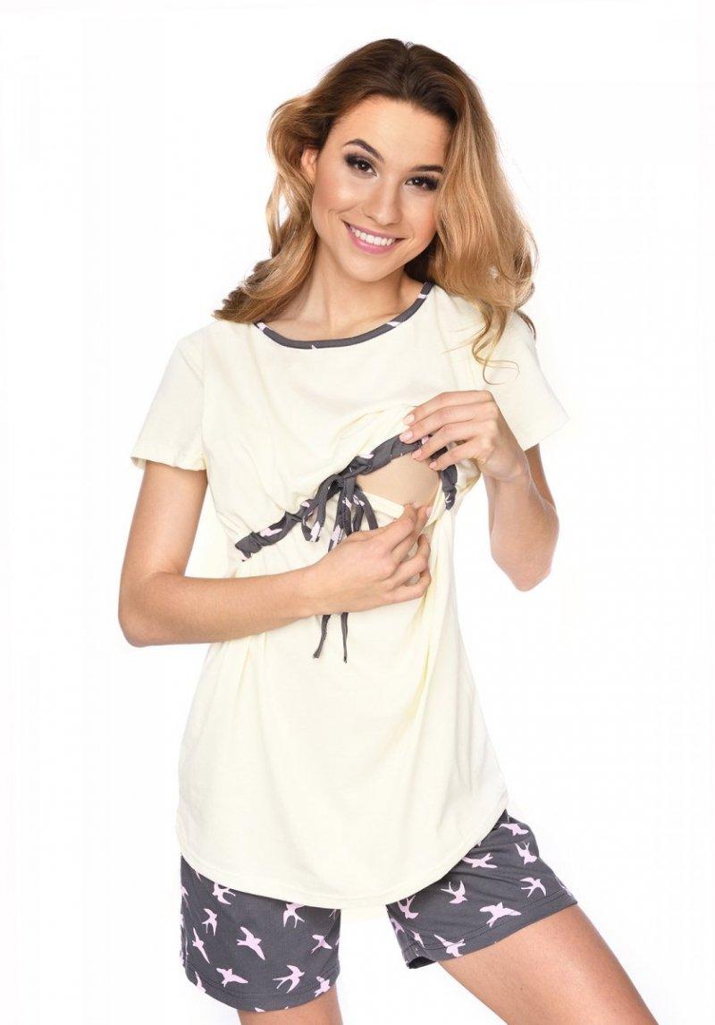 MijaCulture - 3 w 1 piżama ciążowa i do karmienia 4030/M76 krem/ptaki