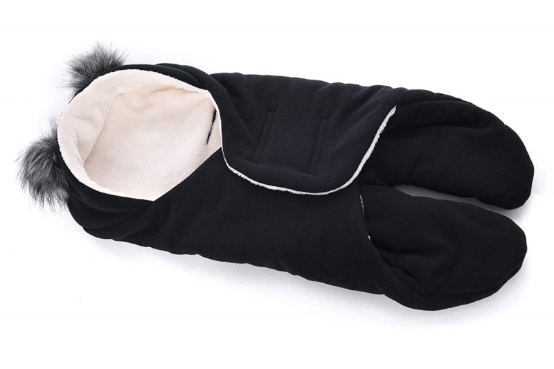 MijaCulture Polarowy otulacz do fotelika nosidła 4126 odpinane uszy czarny/szary1