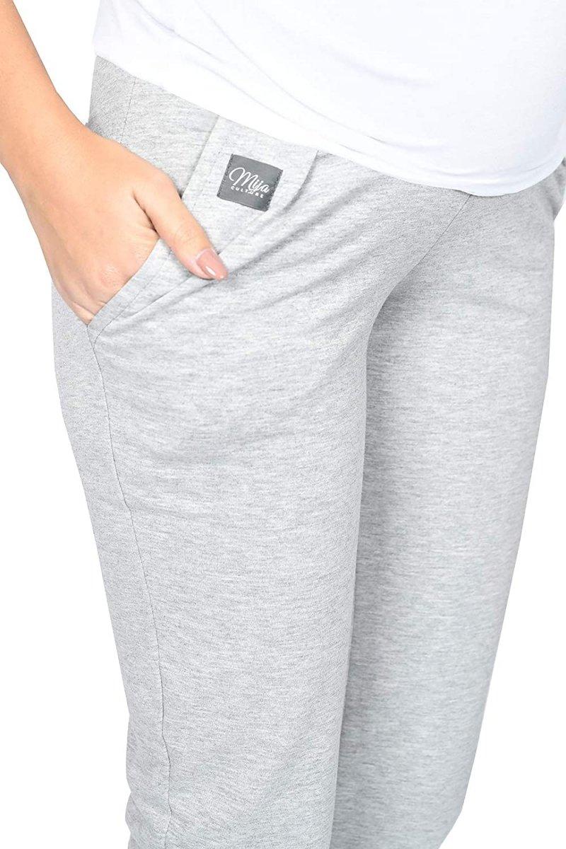 MijaCulture Wygodne spodnie dresowe ciążowe Coco M003 melanż5