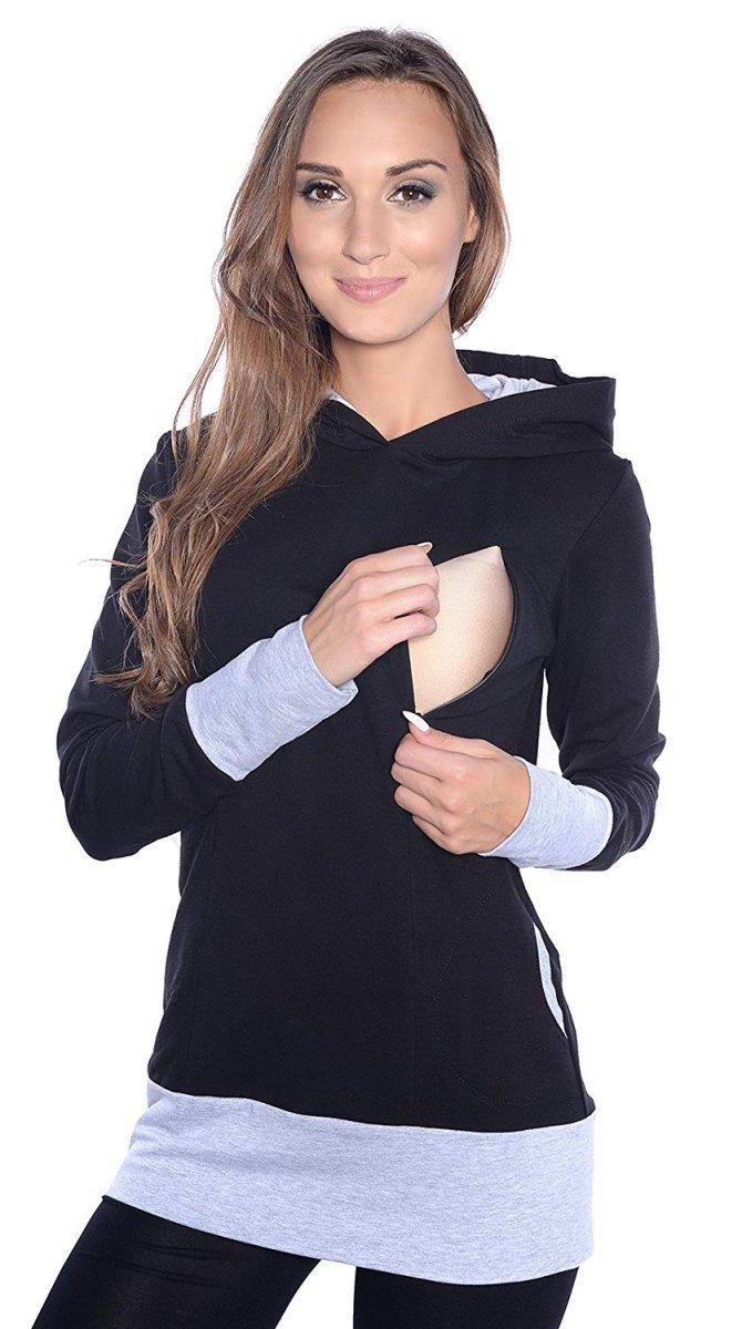 """MijaCulture – 3 w 1 bluza ciążowa i do karmienia """"Mona"""" 1035 czarny/melanż"""