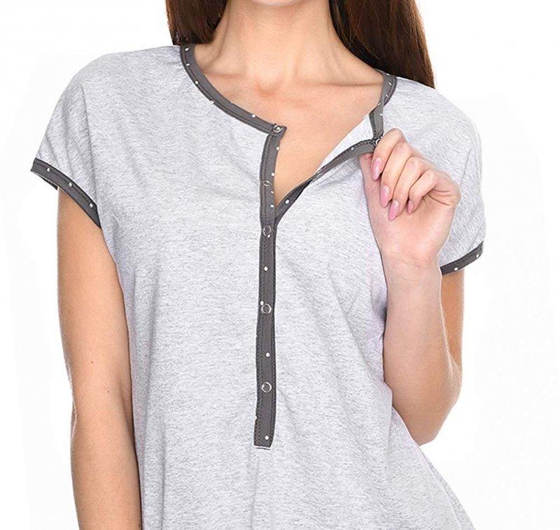 MijaCulture - 3 w 1 piżama ciążowa i do karmienia M79 melanż/szary