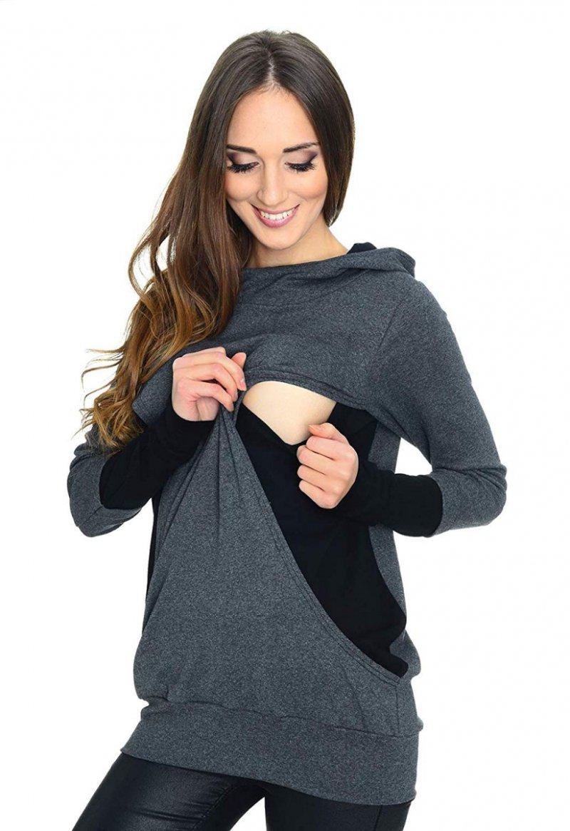 MijaCulture - 3w1 bluza ciążowa i do karmienia 3078/M06 grafit/czarny