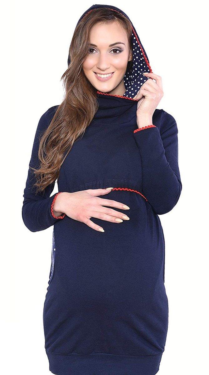 """MijaCulture - 3 w 1 bluza ciążowa i do karmienia """"Ellie"""" 7129 ciemny granat"""