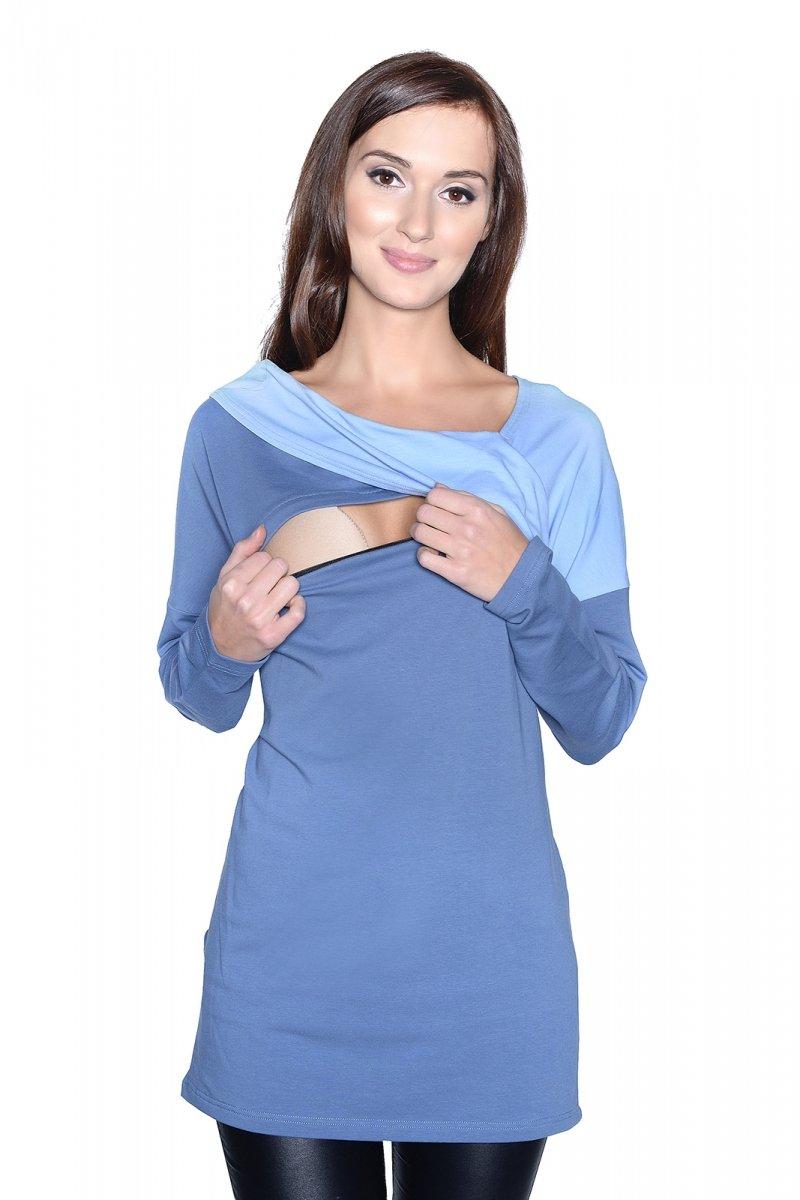 Bluzka ciążowa i do karmienia Ada 9061 dł. rękaw niebieski