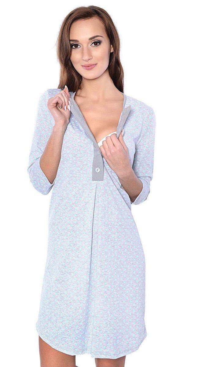 MijaCulture - 2 w 1 koszula nocna i do karmienia 4016/M31 szary/mięta