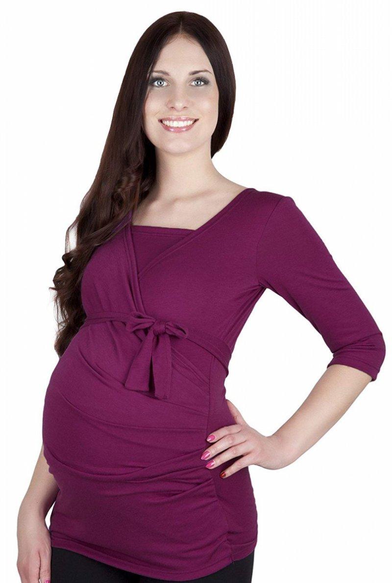 MijaCulture - bluzka z paskiem 2 w 1 ciążowa i do karmienia 4004/M23 lila