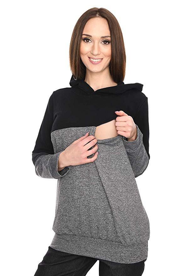"""MijaCulture - 3 w 1 bluza ciążowa i do karmienia """"Jane"""" 7144 grafit/czarny"""