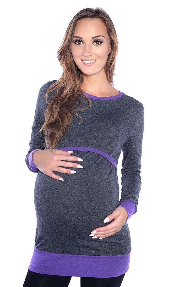 """Wygodna bluzka 2 w 1 ciążowa i do karmienia na co dzień """"Mandy"""" długi rękaw 9048 fiolet/grafit"""