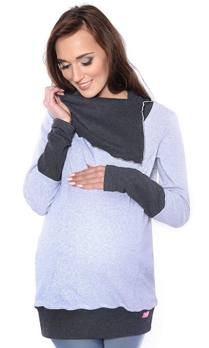 MijaCulture - bluza 3 w1 ciążowa  i do karmienia z asymetrycznym kołnierzem 4020/M05 melanż/grafit