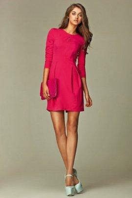 Sukienka z pęknięciem na dekolcie - różowy - S32