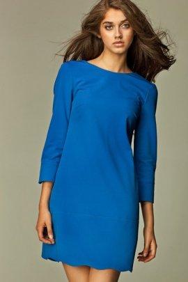 Intrygująca sukienka z zamkiem na plecach - niebieski - S28