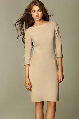 Sukienka z falowanym brzegiem - beż - S30