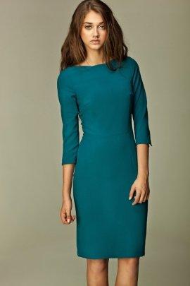Sukienka z falowanym brzegiem - lazur - S30