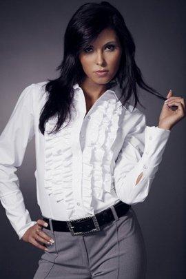 Koszula z żabotem długi rękaw - biały - K01