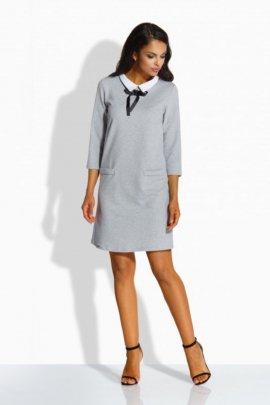 L222 Klasyczna sukienka z kołnierzykiem jasnoszary