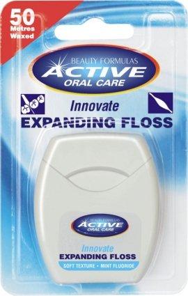 Beauty Formulas Active Oral Care Nić dentystyczna pęczniejąca miętowa z fluorem