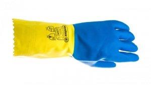 Rękawice gospodarcze z lateksu, flokowane, długość 30 Cm, Gr. 0,60 Mm niebiesko-żółte rozmiar 7,5 VE330BJ07