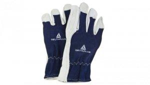 Rękawice z koziej skóry strona grzbietowa z dżerseju biało-niebieskie rozmiar 9 CT402BL09