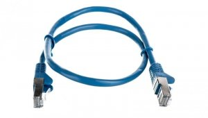 Kabel krosowy patchcord F/UTP kat.5e CCA niebieski 0,5m 50127