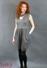 STYLING sukienka ze skóry ekologicznej łączonej z bawełną - delikatny kolor khaki