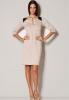 M222 sukienka ze skórzanymi wstawkami, chłodny beż