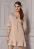 ROSE DRESS beżowa sukienka z falbankami, wiskoza, Gatta