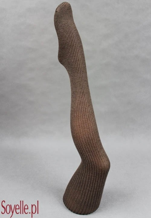 BETTY A06 bawełniane rajstopy w szerokie prążki, szare, brązowe - melanżowe