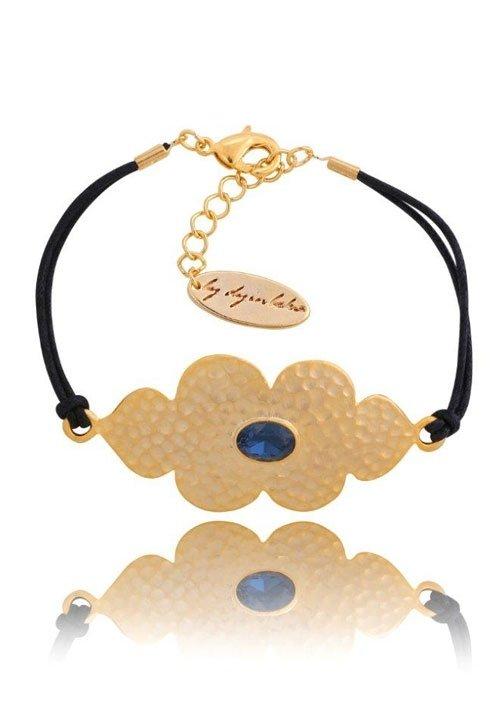 Bransoleta 116 jasne złoto z granatowym kryształkiem, By Dziubeka