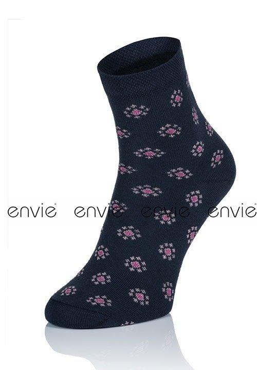ENVIE DF23 NAVY granatowe skarpety w różowe wzory, bawełna