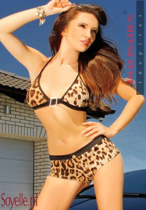 SANDRA panterkowe bikini - szorty i biustonosz