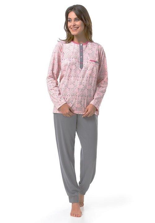 BEAR POLO jasnoróżowa piżama w misie, szare spodnie