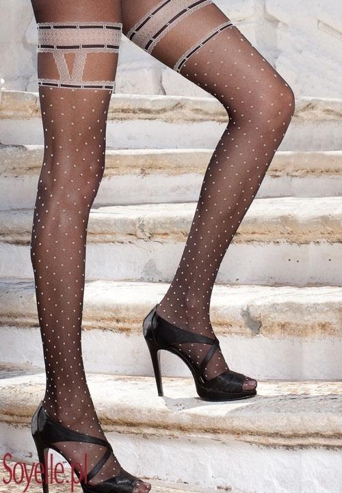 ANFISSA włoskie rajstopy imitujące pończochy, w kropeczki, ecri z czarnym wzorem, czarne z jasnym wzorem