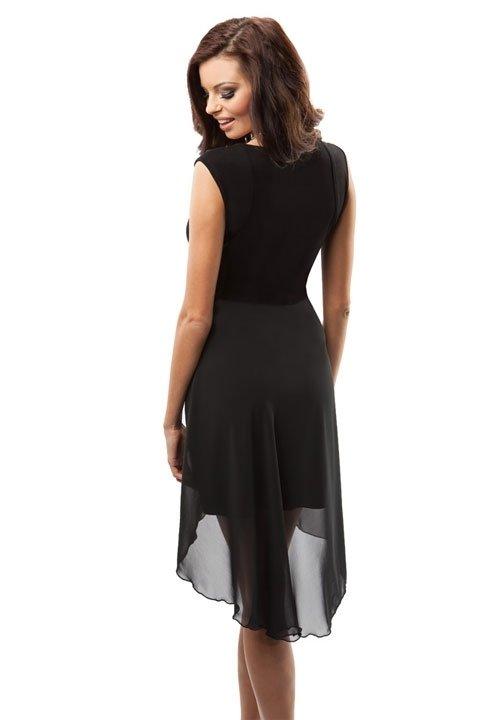ENNY 17008 czarna sukienka z szyfonową spódniczką