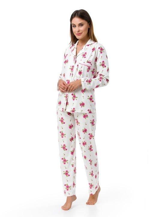 ROSE rozpinana piżama w róże, bawełna 100%