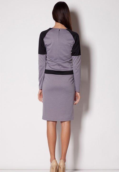 M224 szara sukienka z czarnymi wstawkami
