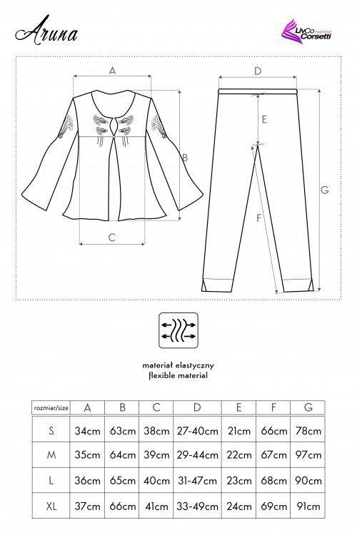 Aruna czarna piżama rozmiar - XL