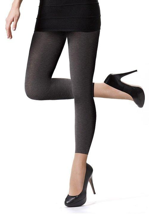 COTTON 350 MELANGE długie legginsy - szary melanż, bawełna