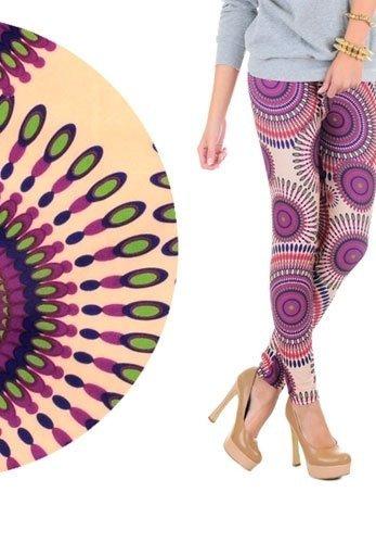 INDIAN SKY legginsy w koliste wzory, beżowe w kolorowe desenie