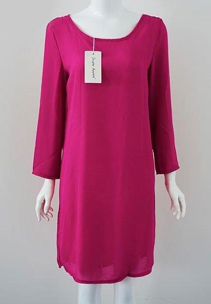 PINK SUMMER szyfonowa sukienka z haftowanym dekoltem na plecach, mocny róż