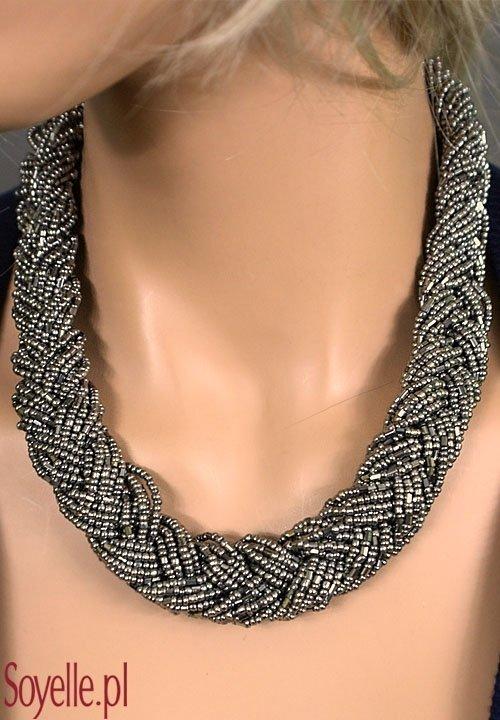 EVITA elegancka kolia z małych koralików, pleciona, kolor ciemnego srebra