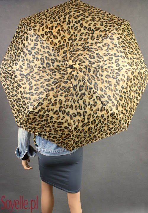 Parasolka damska składana z etui panterka duża