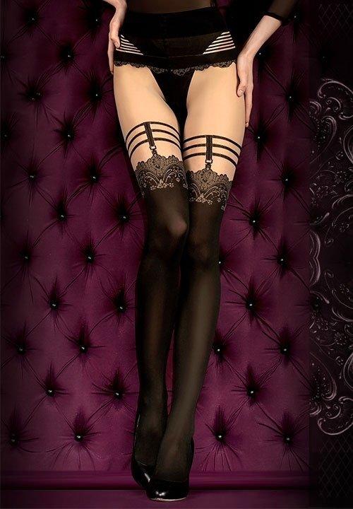 BALLERINA 394 rajstopy imitujące pończochy, czarne z beżową górą