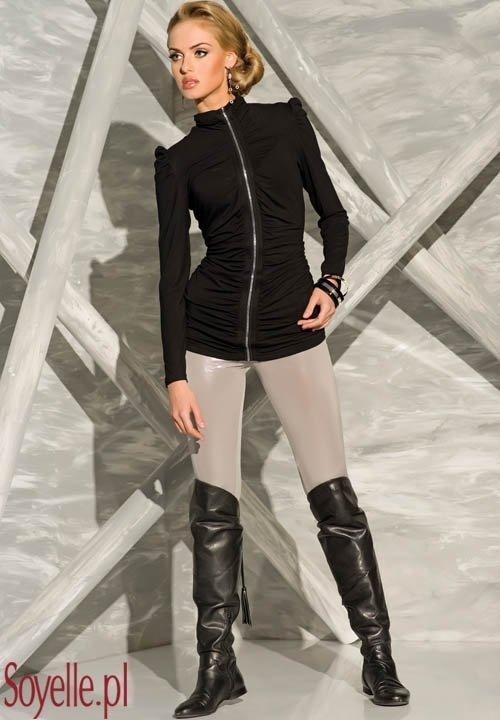 MARY czarna bluzka z imitacją zamka, stójka, długi rękaw, wiskoza